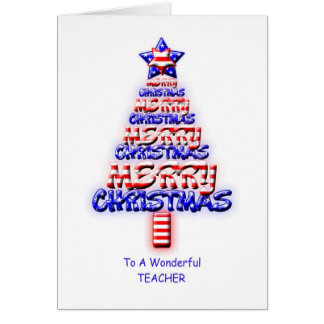 Teacher, patriotic Christmas tree Greeting Cards