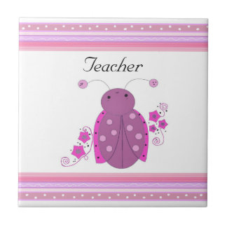 Teacher Pink and Purple Ladybug Tiles