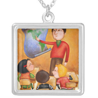 Teacher pointing to map, three children in desks silver plated necklace