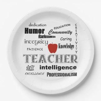 Teacher Pride+Red Apple Paper Plate