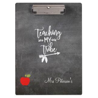 Teacher red apple chalkboard script funny quote clipboard
