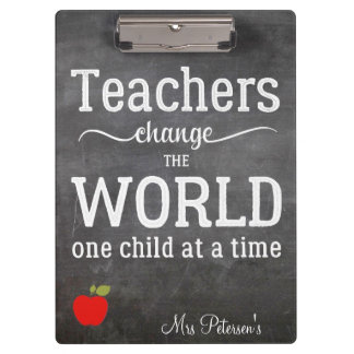 Teacher red apple chalkboard typography quote clipboard