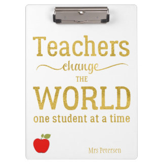 Teacher red apple gold typography quote clipboard