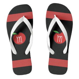 Teacher Red Apple Monogram Personalized Flip Flops