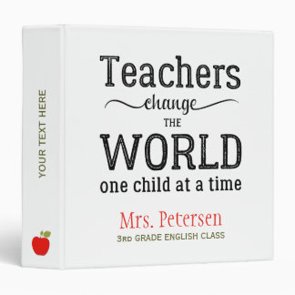 Teacher red apple school typography quote 3 ring binder