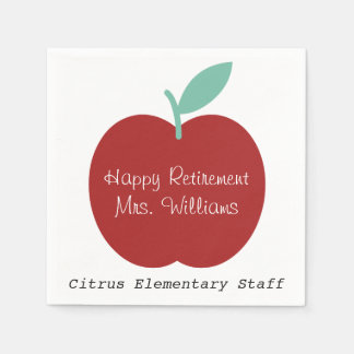 Teacher Retirement Apple Party Napkins Disposable Napkins