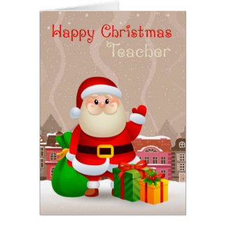 Teacher Santa With Sack And Gifts, Christmas Card