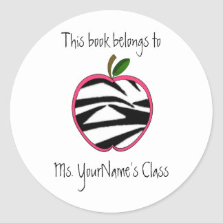 Teacher Sticker -Zebra Print Apple -  Pink Outline