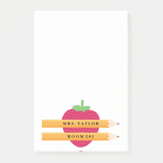 Teacher Strawberry Personalized Post It Notes