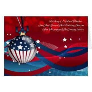 Teacher Stylish Holiday Season, With USA Flag Card