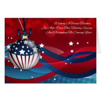 Teacher Stylish Holiday Season, With USA Flag Greeting Card
