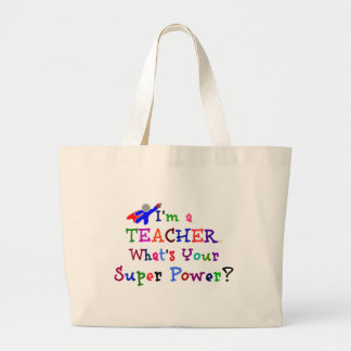 Teacher Superhero Large Tote Bag