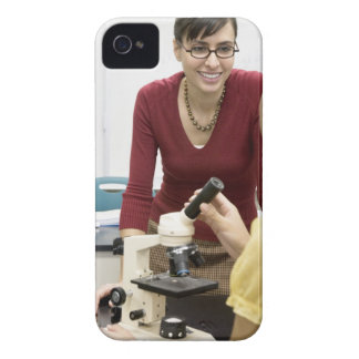 Teacher talking to student in laboratory Case-Mate iPhone 4 case