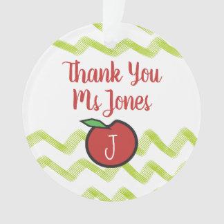 Teacher Thank You Apple Name Monogram Templates Ornament