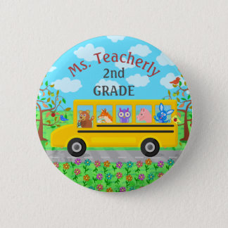 Teacher Thank You Custom Name | Cute Bus Animals 2 Inch Round Button