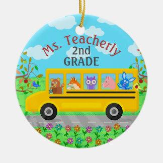 Teacher Thank You Custom Name | Cute Bus Animals Ceramic Ornament