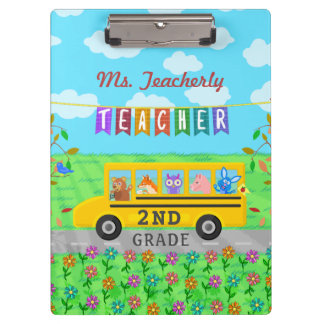 Teacher Thank You Custom Name | Cute Bus Animals Clipboard