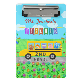 Teacher Thank You Custom Name | Cute Bus Animals Mini Clipboard