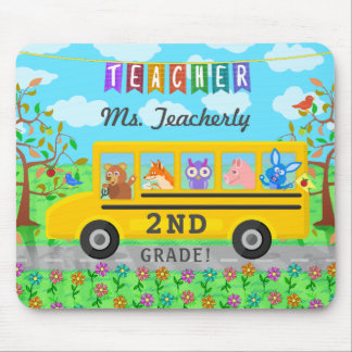 Teacher Thank You Custom Name | Cute Bus Animals Mouse Pad