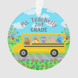 Teacher Thank You Custom Name | Cute Bus Animals Ornament