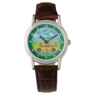 Teacher Thank You Custom Name | Cute Bus Animals Wristwatches