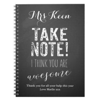 Teacher Thank you notebook word art chalkboard