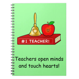 Teacher Thank You with Book, Apple and Bell Spiral Note Book