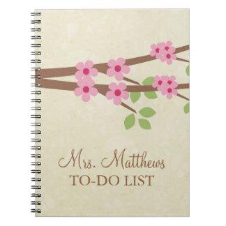 Teacher To Do List Notebook - Cherry Blossoms