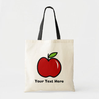 Teacher tote bag with red apple | Personalizable