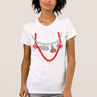 Teacher Trompe L'Oeil T Shirt - Red Beads & Charms