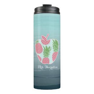 Teacher Tumbler - Ombre Apple Print Pineapple