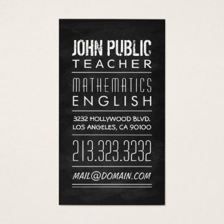 Teacher Tutor Chalkboard Business Card