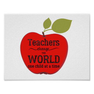 Teacher typography quote red apple inspirational poster