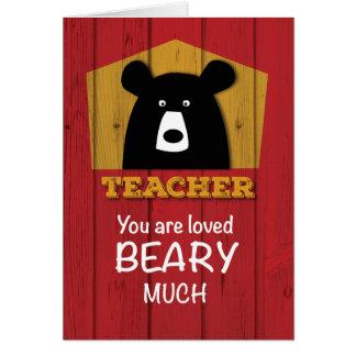 Teacher, Valentine Bear Wishes on Red Wood Grain Card