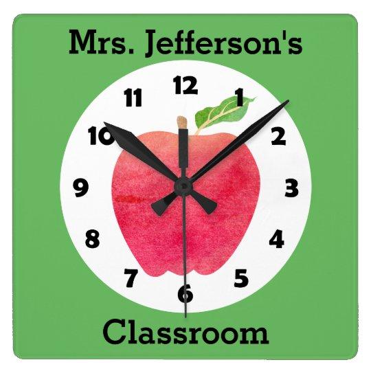 Teacher Watercolor Apple Personalized Green Class Wallclocks