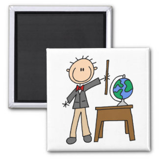 Teacher With Globe Square Magnet