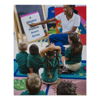 Teacher with preschool students in classroom poster