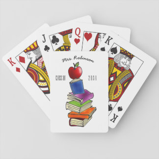 TeacherApple with Book Stack Playing Cards