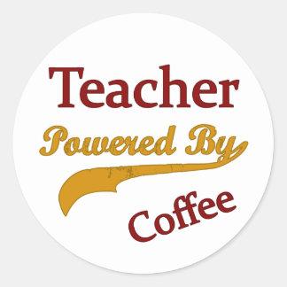 Teacheri Powered By Coffee Classic Round Sticker