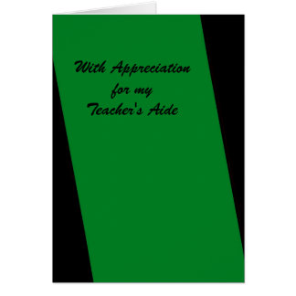 Teacher's Aide Thank You, Green and Black, Simple Card