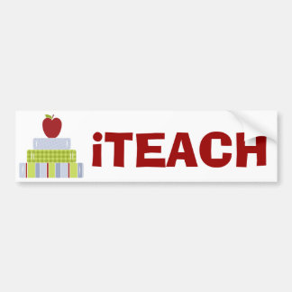 Teacher's Apple and Books Bumper Sticker