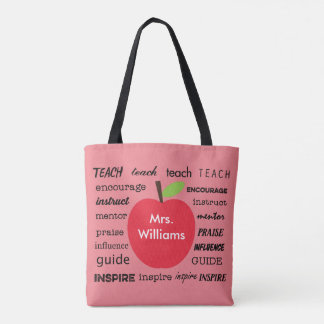 Teacher's Apple and Words of Inspiration Tote Bag