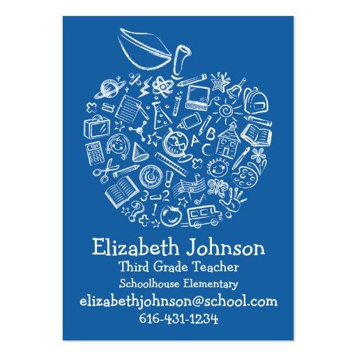 Teachers Apple Business Card- Blue