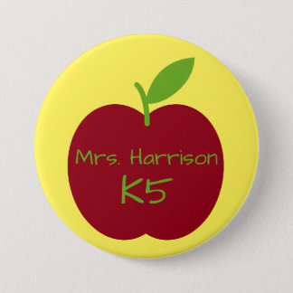 Teacher's Apple on Yellow Personalized 3 Inch Round Button