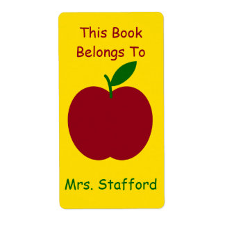 Teacher's Apple Personalized Book Plates