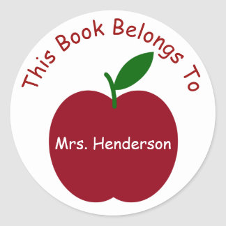 Teacher's Apple Personalized Bookplate Classic Round Sticker
