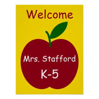 Teacher's Apple Personalized Welcome Poster