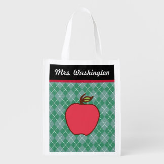 Teacher's Apple Reusable Grocery Tote Bag Gift Market Totes
