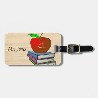 Teacher's Apple Stack of Books Customize Bag Tag