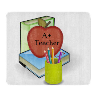 Teachers', Apple Stack of Books Cutting Boards